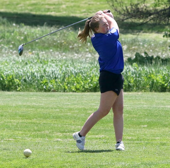 State qualifier Emily Legare of Horseheads hits a drive during the Section 4 girls golf championships at Soaring Eagles Golf Course in Horseheads on May 21, 2019.
