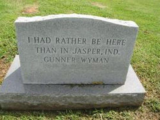 """""""Gunner"""" Wyman's tombstone."""