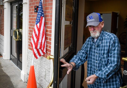 Danny Powell heads out the door after voting in the Kentucky Primary Election at Community Baptist Church in Henderson Tuesday, May 21, 2019.