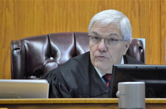 Marinette County Circuit Court Judge James Morrison speaks at a hearing for Raymond Vannieuwenhoven on Monday, May 20.