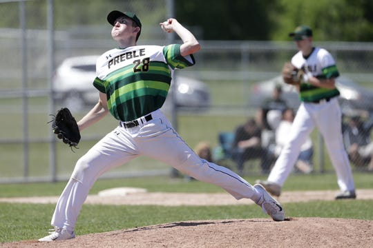 Green Bay Preble junior and Vanderbilt recruit Ryan Stefiuk (28) has again been one of the top pitchers in the Fox River Classic this season.