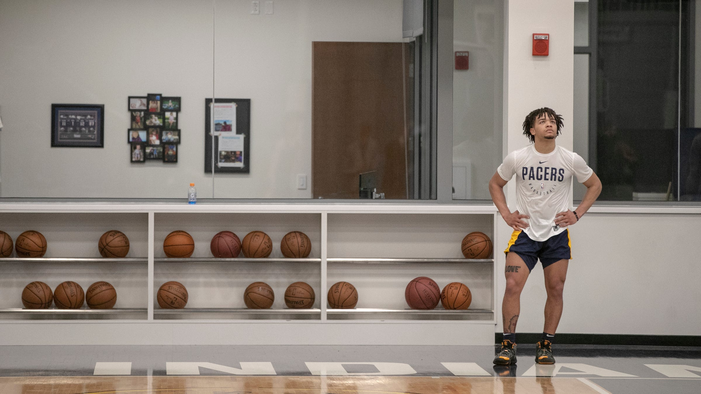 Carsen Edwards, of Purdue, participates in a...