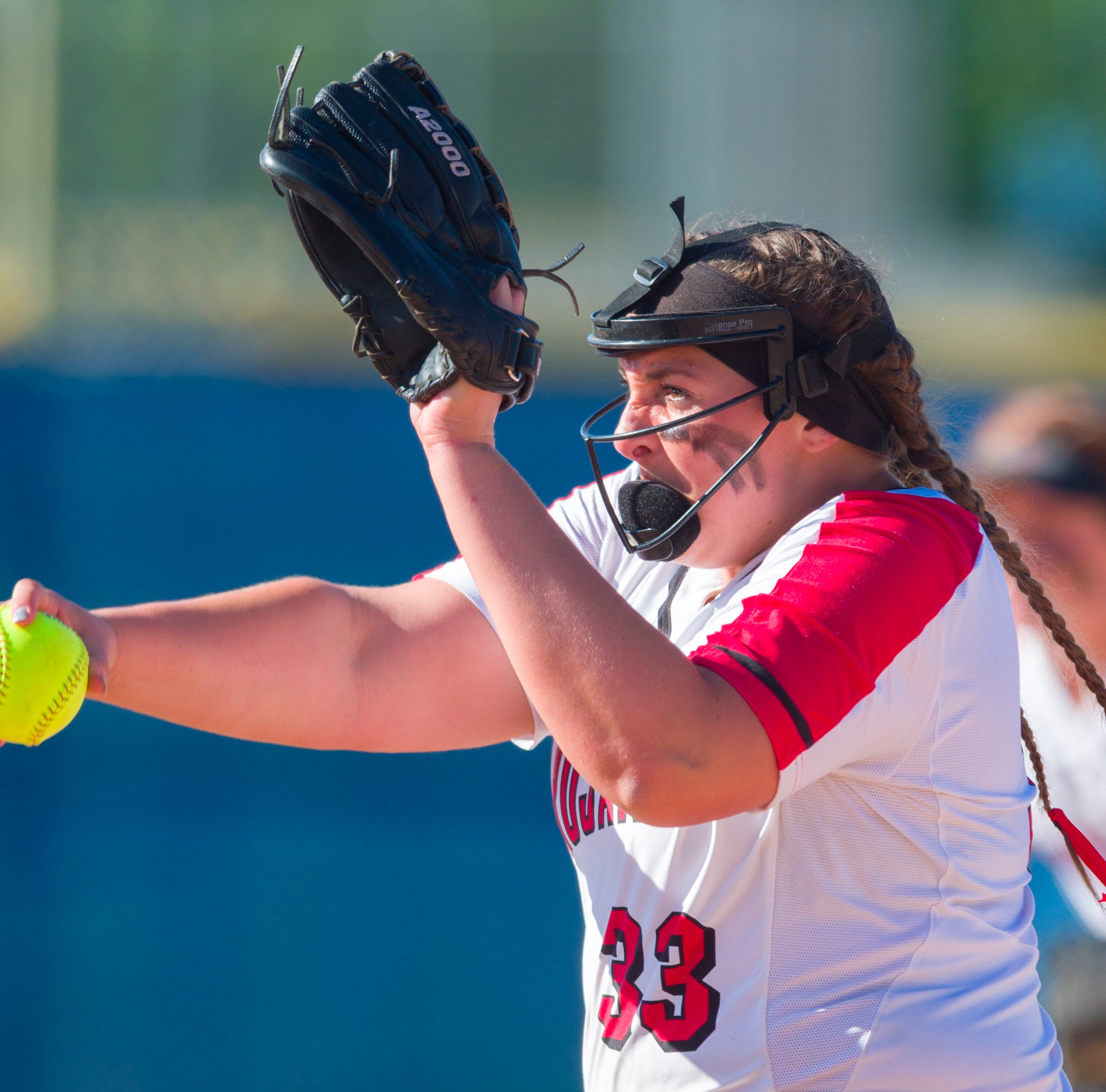 FILE – Center Grove's Abby Herbst struck out 13 batters in the Trojans' sectional win over Franklin Central on Monday.