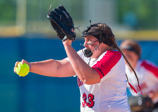 Center Grove's Abby Herbst struck out 17 batters in the Trojans' sectional win over Franklin.