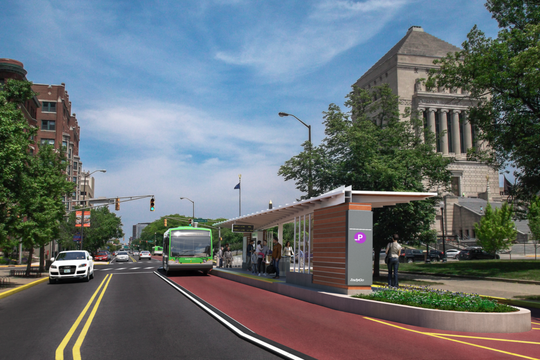 The Purple Line will travel on Meridian Street and stop at Vermont Street near the Indiana War Memorial.