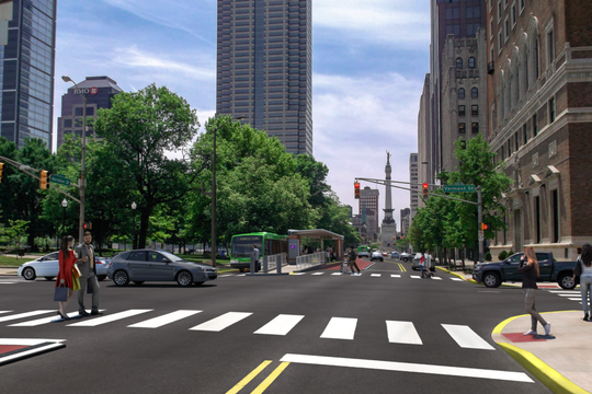 A rendering of the Purple Line bus rapid transit at Meridian and Vermont streets near University Park, scheduled to begin service in late fall 2021.