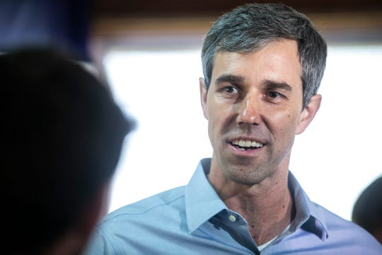 Democratic presidential candidate Beto O'Rourke speaks with reporters after a campaign event Tuesday, May 21, 2019, at City Park in Tipton, Iowa.