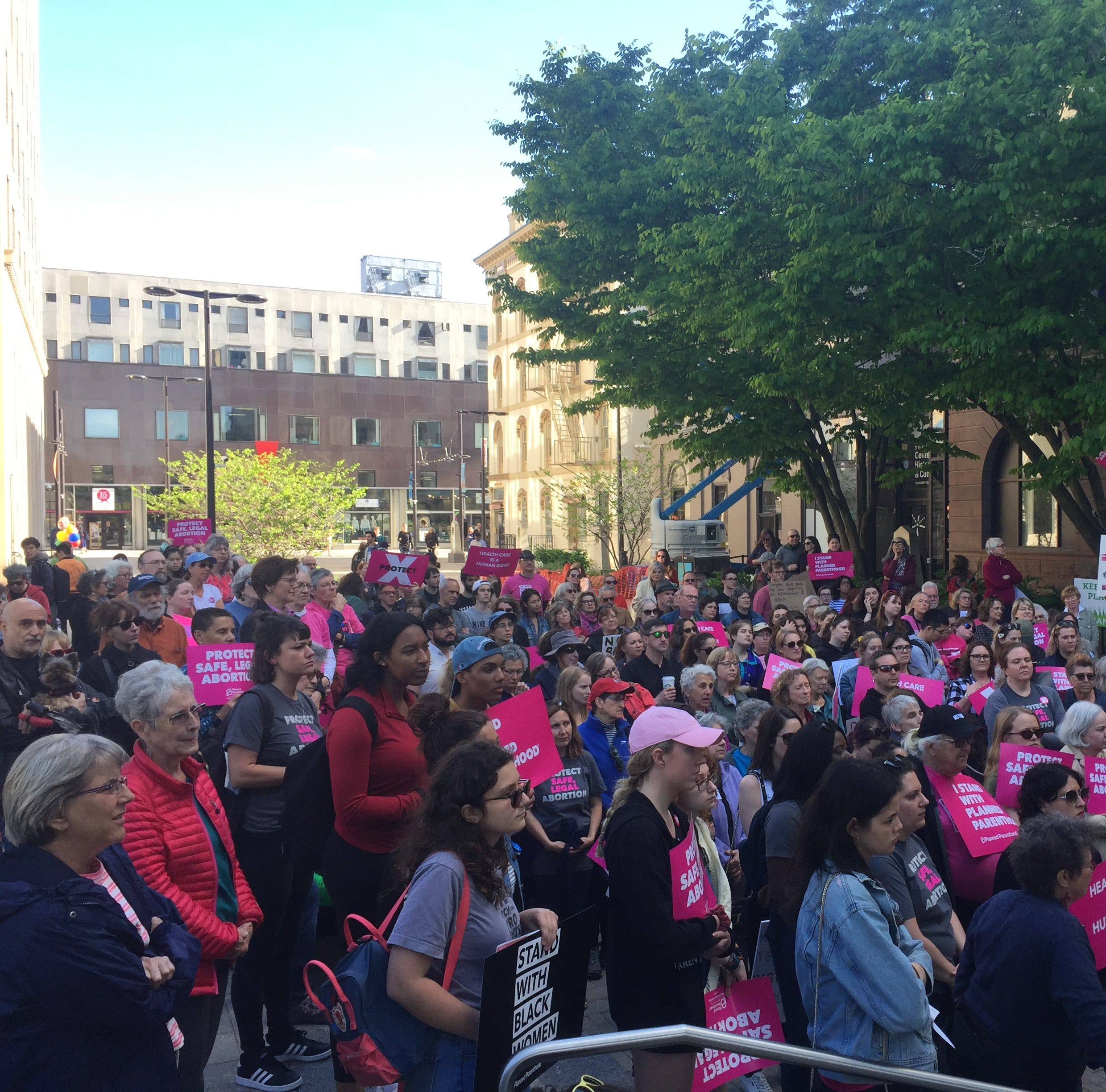 The pink-clad crowd surpassed 100 attendees.