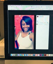 This photo of a computer screen shows Dominque Clayton in a Facebook post.