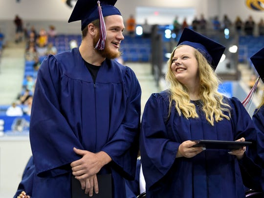 Union County High School graduates Colby Dawson and Calli Russell during their graduation ceremony at Tex Turner Arena on Monday, May 20, 2019.
