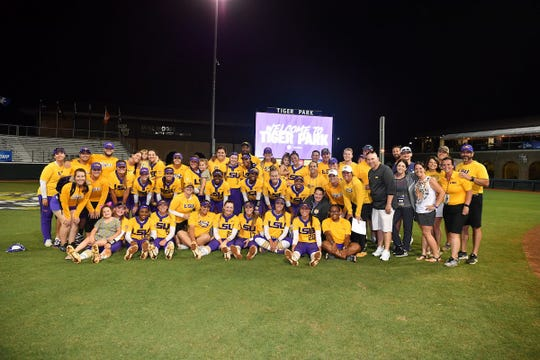 The LSU softball team celebrates winning the 2019 Baton Rouge Regional on Sunday, May 19, 2019.