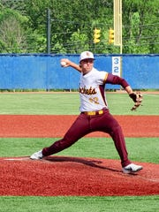 Berne Union's Zane Mirgon gets set to throw a pitch against Fisher Catholic during Monday's Division IV district semifinal at Beavers Field.
