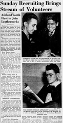 An 18-year-old Carl Thompson appears in the Courier Journal on Monday, Dec. 15, 1941. The day before, he had applied to join the Marine Corps in Louisville, becoming the first Sunday applicant to be accepted in Louisville since World War I.
