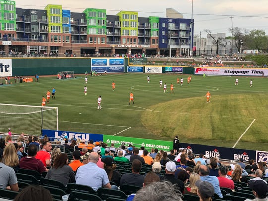 Fans at Cooley Law School Stadium watch Lansing Ignite's match on Saturday, May 18.