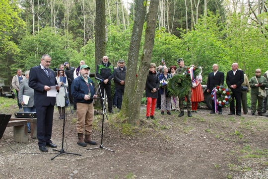 About 100 people gathered in the Czech Republic on May 3for a ceremony to remember the crew of a U.S. Army Air Force B-24 Liberator bomber that was shot down 75 years ago and crashed in the Pilsen region near the town of Nepomuk.