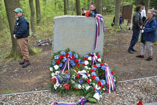About 100 people gathered in the Czech Republic on May 3 for a ceremony to remember the crew of a U.S. Army Air Force B-24 Liberator bomber that was shot down 75 years ago and crashed in the Pilsen region near the town of Nepomuk.