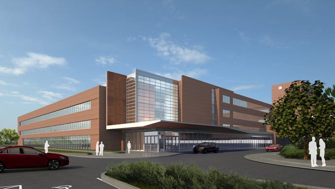 A preliminary rendering of the exterior of a planned three-story addition to OhioHealth Marion General Hospital.