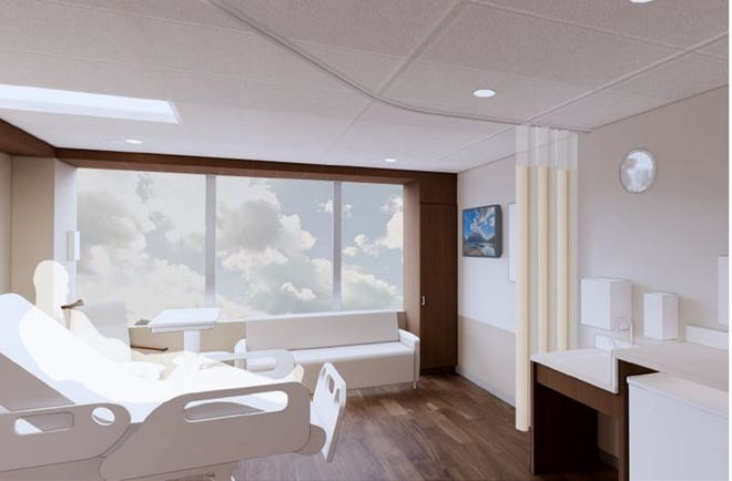 A preliminary rendering of one of up to 48 private care rooms that will be added to OhioHealth Marion General Hospital as part of a $46 million, four-year master facilities plan.