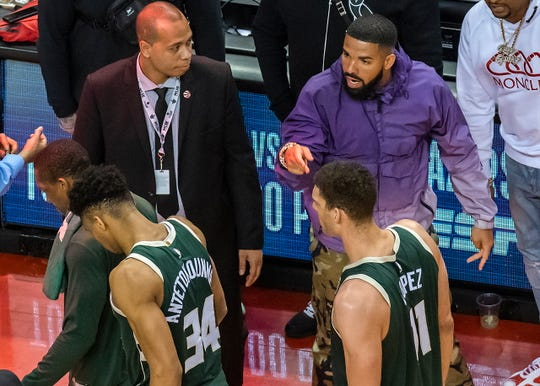 Giannis Antetokounmpo's intense game-day/in-game focus, includes ignoring the frequent taunting/trolling by Raptors superfan Drake.