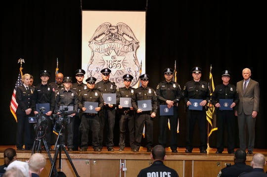 Various police officers from the Specialized Patrol Division who came to the aid of Matthew Rittner receive awards for their service. Award recipients include Police Sgt. Bradley J. Buddinghagen, Police Officer Trevor D. DeBoer, Police Officer Lane C. Grady, Police Officer Nikhom Lee, Police Officer Procopio G. Orlando, Police Officer Erin L. Tischer, Police Officer Kent D. Tuschi, Police Officer Matthew J. Zaworski, Paramedic Firefighter Amber Buschmann and Paramedic Firefighter Josh Long.