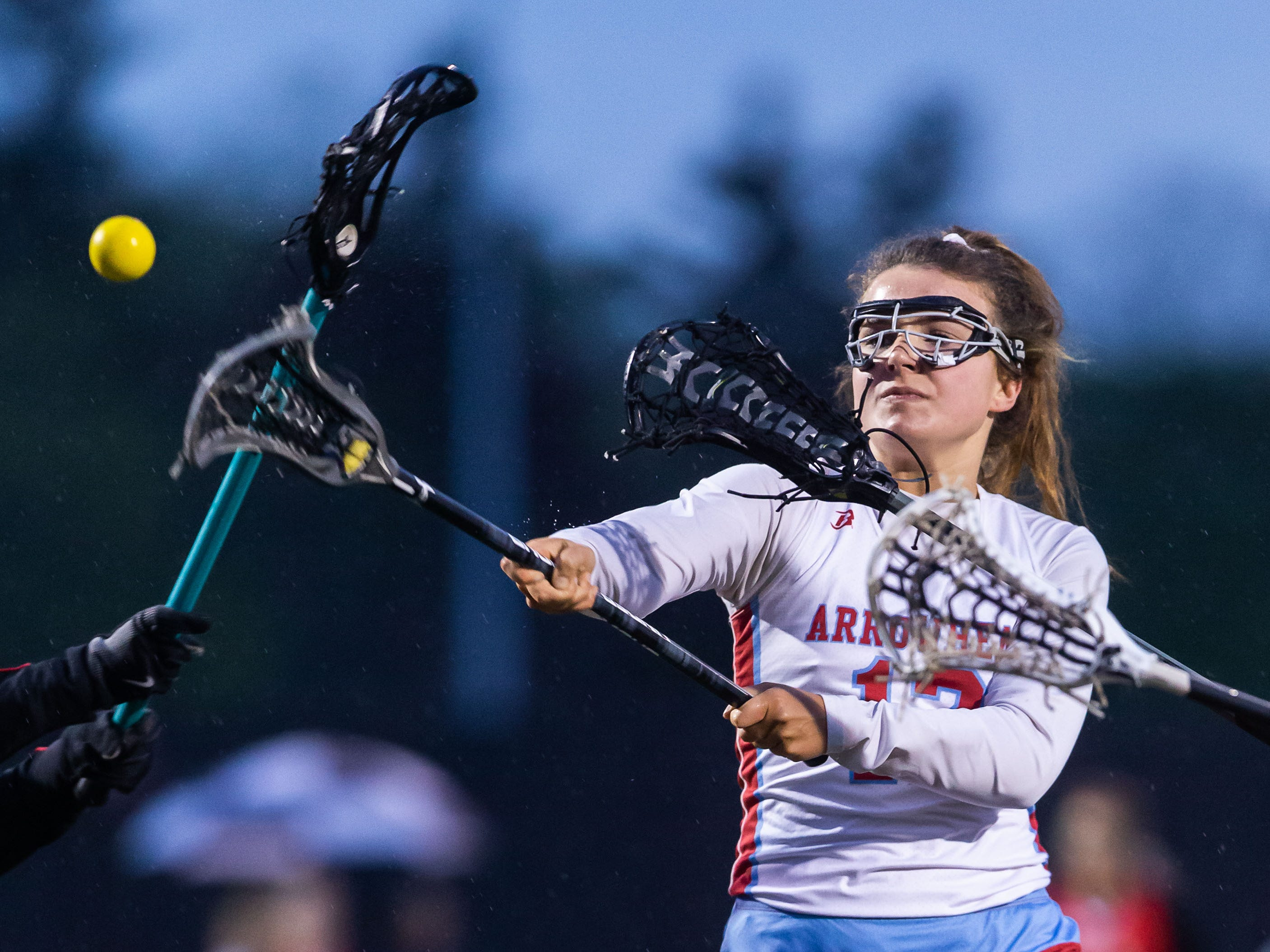Arrowhead White's Steph Holtz (12) takes a shot on goal during the game at home against Divine Savior Holy Angels on Friday, May 17, 2019.