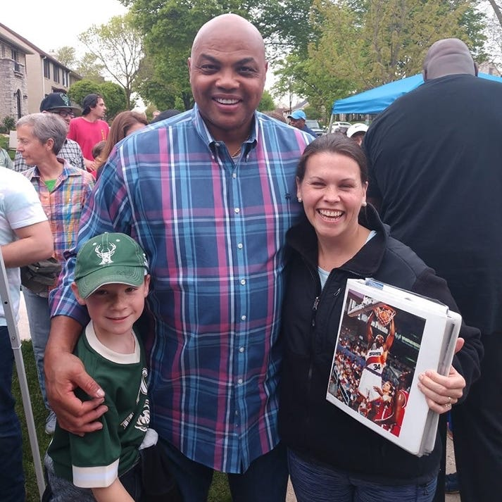 A 9-year-old Bucks superfan from Wauwatosa met basketball legends Shaquille O'Neal and Charles Barkley