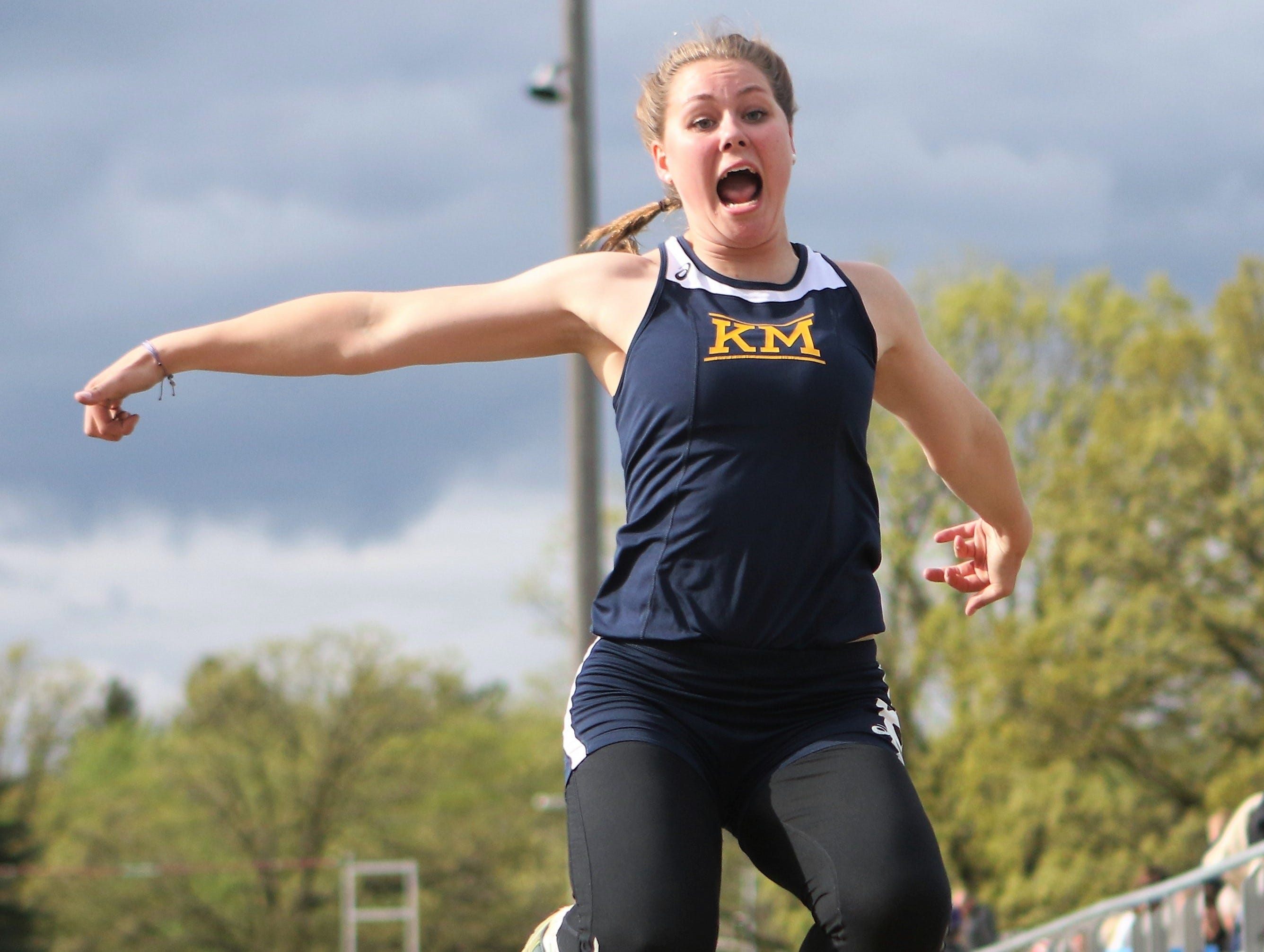 Kettle Moraine's Emily Stuart competes in the long jump at the Kettle Moraine regional on May 20, 2019.