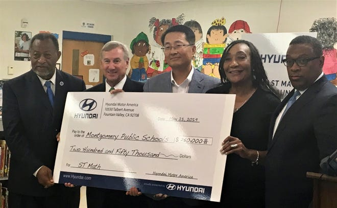 City and county leaders gathered at Catoma Elementary on Tuesday, May 21, for a check presentation from Hyundai for $250,000.