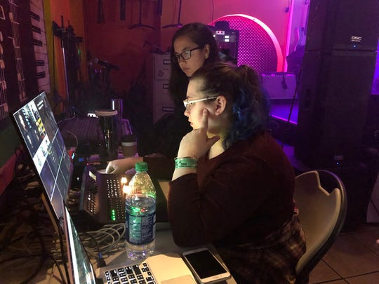 Madison Stewart and Jessica Rigsby direct a live webcast from WMOT's 895 Sessions at SXSW in Austin on March 12, 2019. Stewart was a student video producer for WMOT and Rigsby is a recent MTSU graduate, who works as an assistant video director for WMOT live streams.