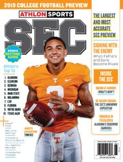 "Vols quarterback Jarrett Guarantano is featured on the cover of ""Athlon Sports 2019 College Football Preview SEC"" Tennessee cover."