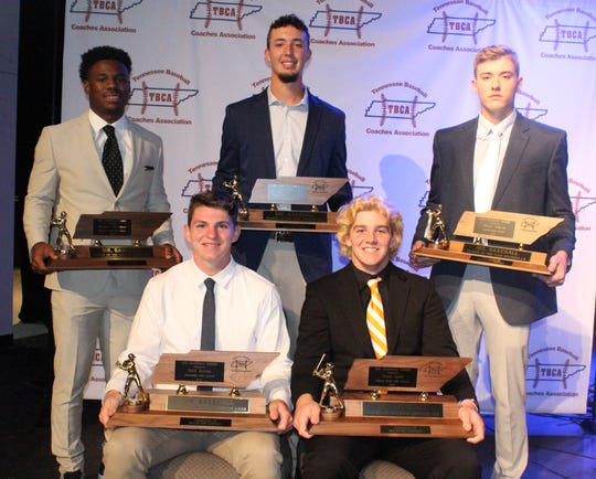 The TBCA Mr. Baseball awards were given out on Tuesday. In the front, from left is Clarksville's Nick James (Class AAA) and Pigeon Forge's Noah Gent (Class AA). In the back, from left, are MUS' Maurice Hampton (DII-AA), CAK's Jacob Tate (DII-A) and Loretto's Blade Tidwell (Class A).