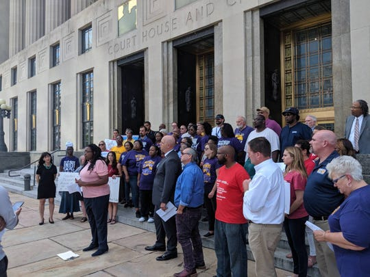 Community leaders and Nashville employees gathered on the steps of the Davidson County Courthouse to ask Metro Council to fund raises for employees on May 21, 2019, in Nashville, Tennessee.