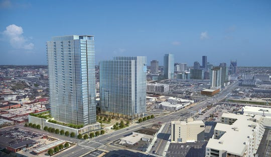 An architectural rendering of the two towers under construction at BroadWest, where Broadway meets West End in Midtown.