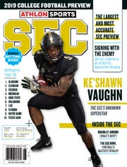 "Former Pearl-Cohn running back Ke'Shawn Vaughn, now at Vanderbilt, is featured on the cover of ""Athlon Sports SEC 2019 College Football Preview."""