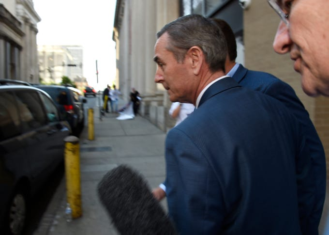House Speaker Glen Casada leaves a House Republican Caucus meeting after a no-confidence vote Monday, May 20, 2019, in Nashville.