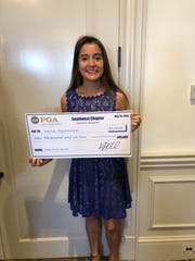 Amanda Higginbotham of Southwest Florida Christian Academy received a $1,000 scholarship at the Southwest Chapter PGA spring meeting at Heritage Palms Golf & Country Club in Fort Myers on Monday, May 20, 2019.