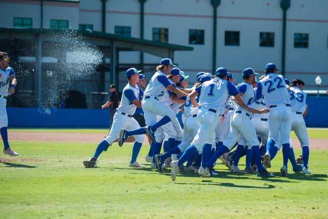 The FGCU baseball team celebrates after winning the ASUN regular-season title with a 10-9 victory over Liberty at Swanson Stadium on Saturday, May 18, 2019.