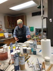 Left,  Jan Barry,  US Army Vietnam  veteran from Teaneck, NJ. at Frontline Arts studio, Branchburg, NJ