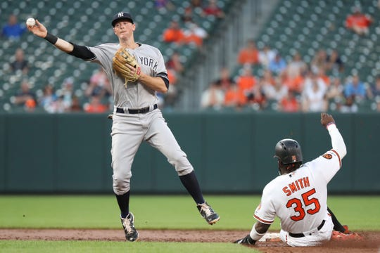 New York Yankees second baseman DJ LeMahieu (26) turns a double play against Baltimore Orioles outfielder Dwight Smith Jr (35) in the third inning at Oriole Park at Camden Yards.