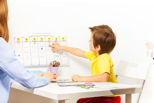 For help building a child's organizing and prioritizing skills, Kahane suggests keeping a family calendar in the kitchen, and rather than you telling the child what they're doing that day, have your child go to the calendar to write down what they have that day, even using different colors to separate curricular from extracurricular activities.