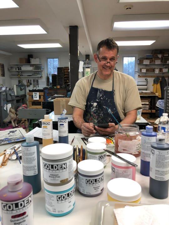 Ron Erickson, US Marine Corps, Bogota, NJ.  at Frontline Arts studio, Branchburg