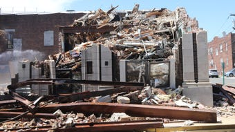 Watch as the old Fairview Borough Hall is torn down.  The space, located right next door to the new hall, will be a parking lot. Tuesday, May 21, 2019