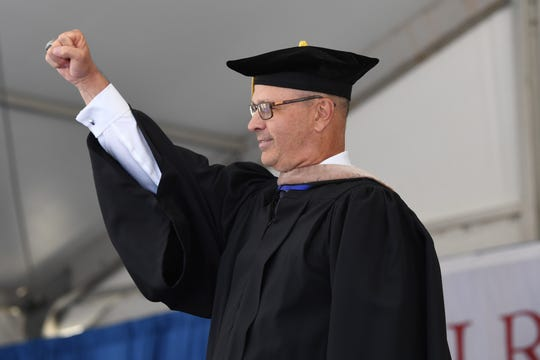 Commencement Speaker FDU Knights Men's Basketball Coach Greg Herenda during the Fairleigh Dickinson graduation ceremony at MetLife Stadium on Tuesday, May 21, 2019.