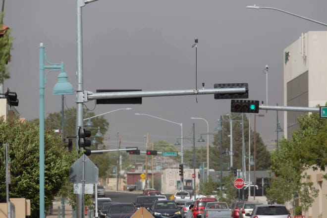 Blowing dust obscures the Organ Mountains on Monday, May 20, 2019. Gusts at San Augustin Pass east of Las Cruces reached 61 mph. At the Las Cruces International Airport to the west of the city, gusts hit 51 mph.