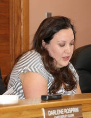 Roberta Smith,  Eddy County finance director, discusses budget figures during a May 21 meeting of the Eddy County Board of Commissioners.