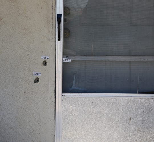 Bullet holes remain from a May 19 shooting in Carlsbad. New Mexico State Police are investigating the death of Lori Markham.