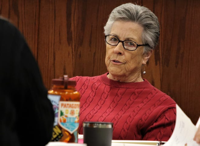 Aztec City Commissioner Rosalyn Fry talks about the city budget, Monday, May 20, 2019, during a work session at Aztec City Hall.