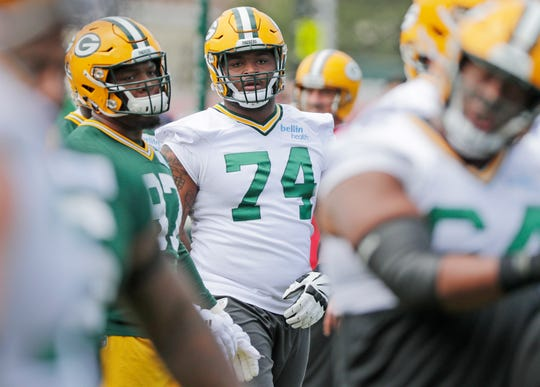 Green Bay Packers offensive lineman Elgton Jenkins (74) during practice at Clarke Hinkle Field on Tuesday, May 21, 2019 in Ashwaubenon, Wis.