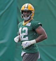 Green Bay Packers inside linebacker Oren Burks (42) during practice at Clarke Hinkle Field on Tuesday, May 21, 2019 in Ashwaubenon, Wis.