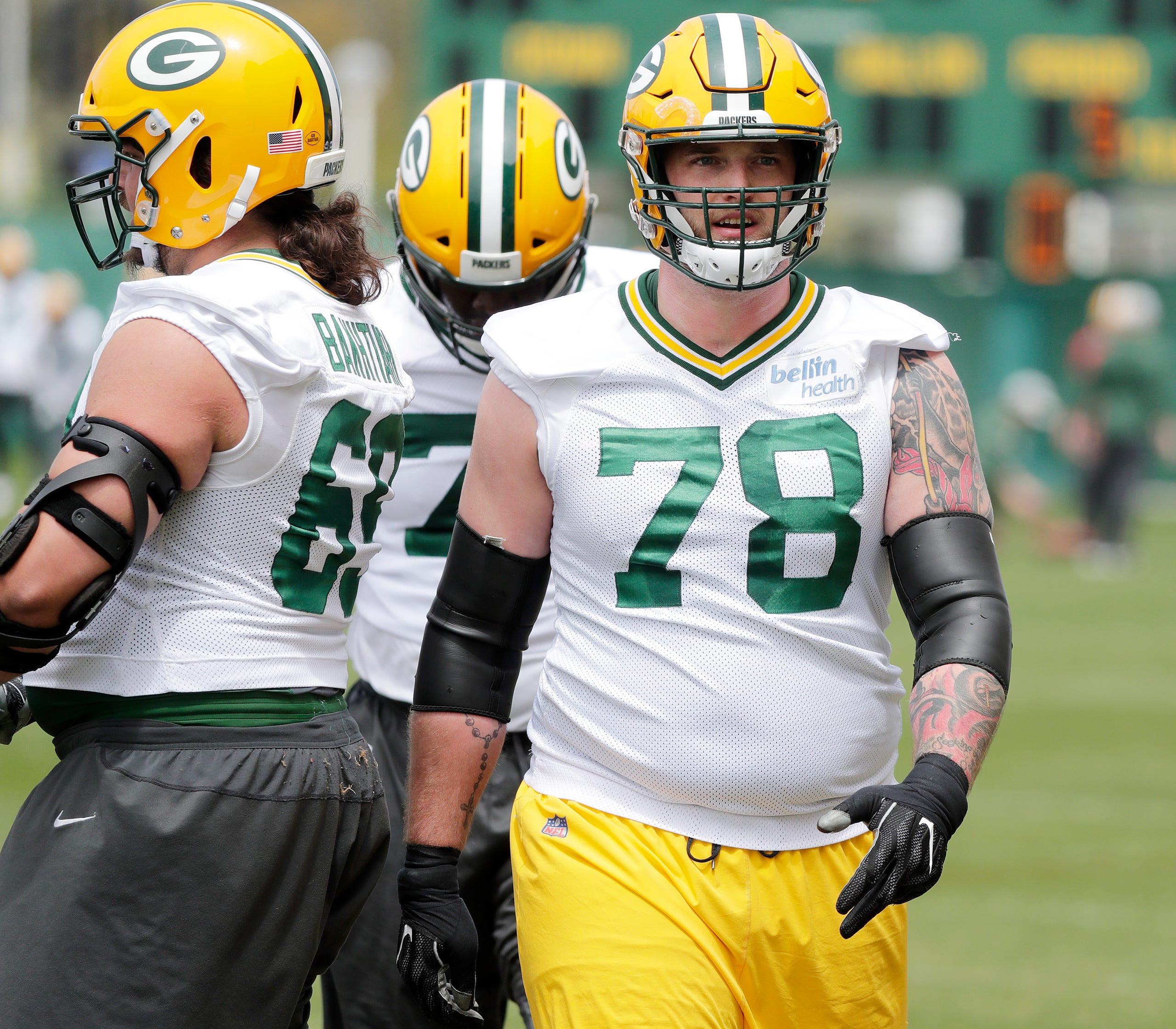 Green Bay Packers offensive tackle Jason Spriggs [78) during practice at Clarke Hinkle Field on Tuesday, May 21, 2019 in Ashwaubenon, Wis. Adam Wesley/USA TODAY NETWORK-Wis
